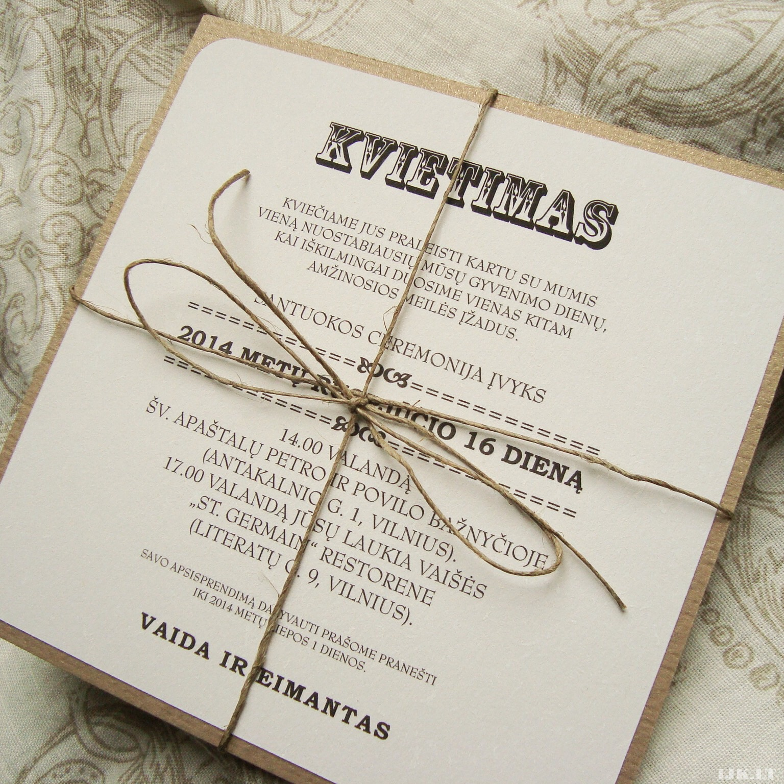 Invitation wedding, baptism, anniversary, vintage letters, natural paper, eco style, brown