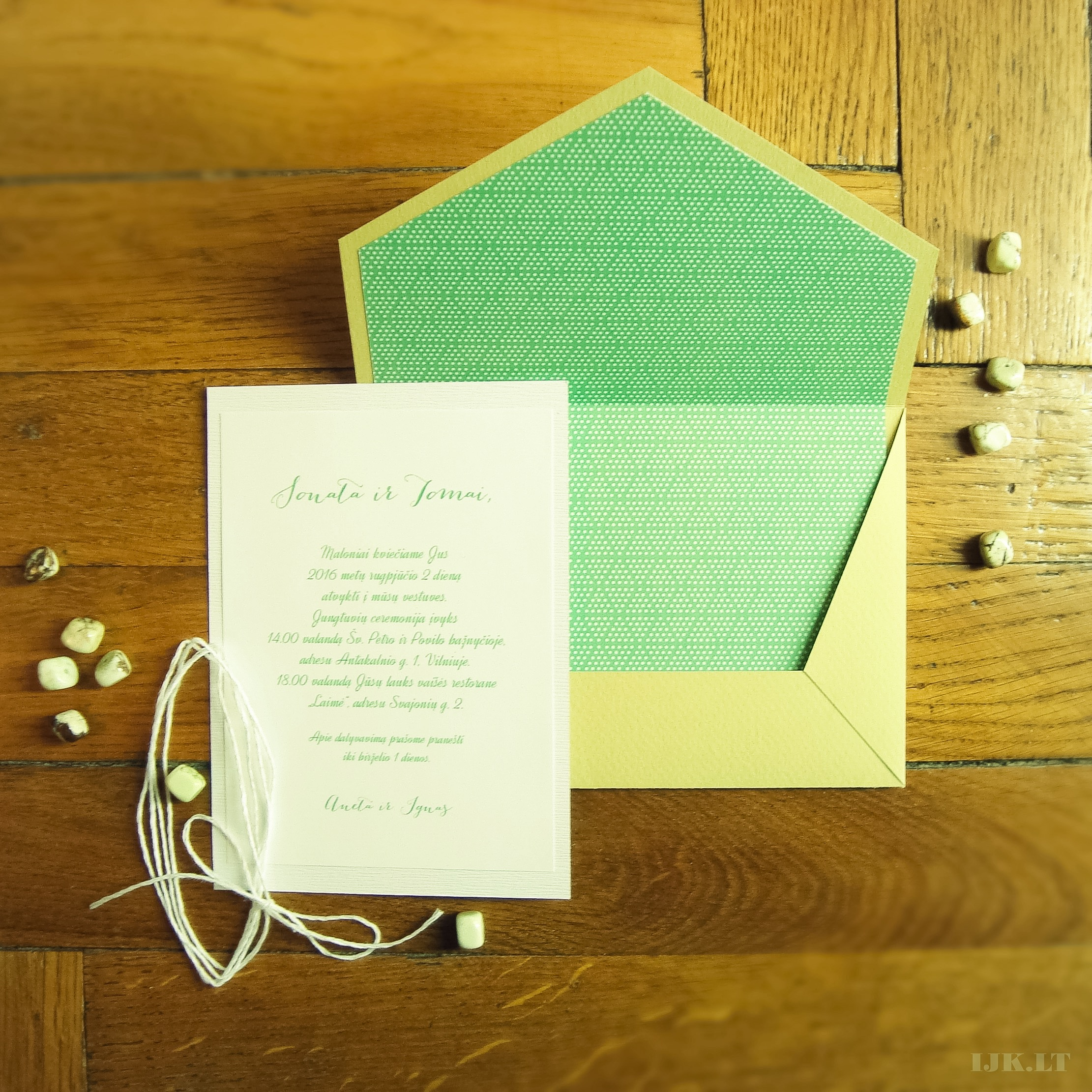 Wedding invitation, green, rustic, with envelope