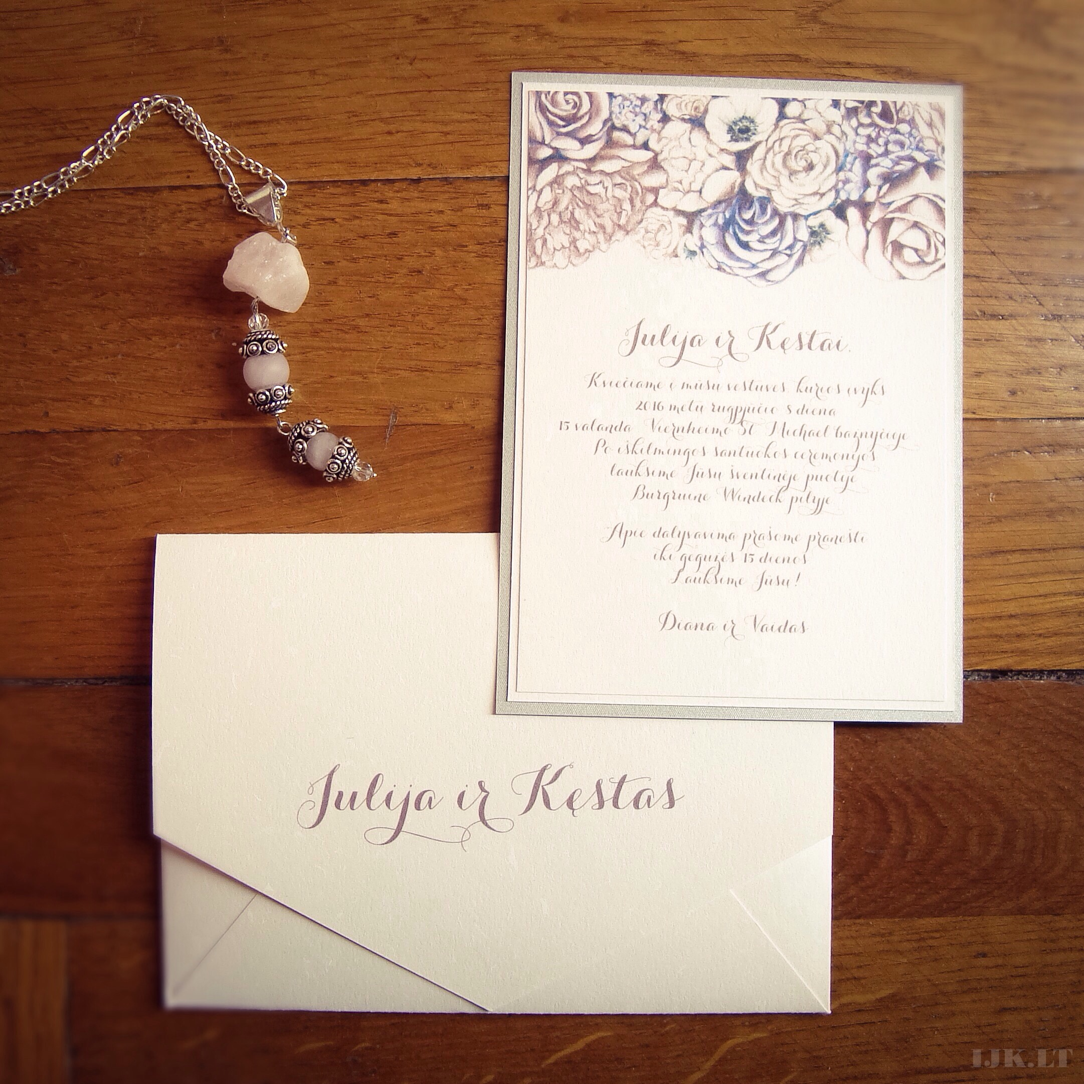 Wedding invitation, natural off-white, envelope with names, flowers