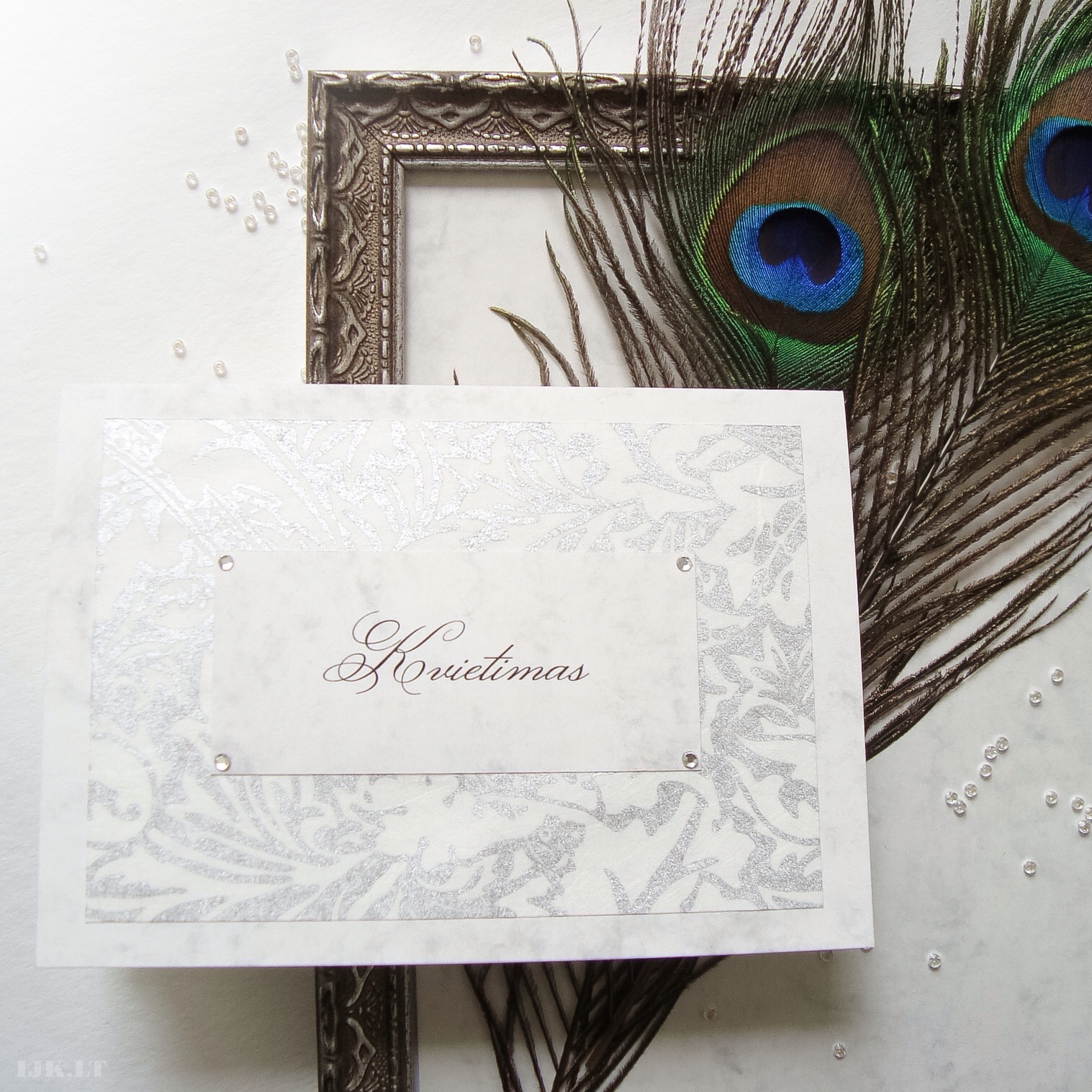 Wedding invitation, luxurious, old, silver, manor times, marble