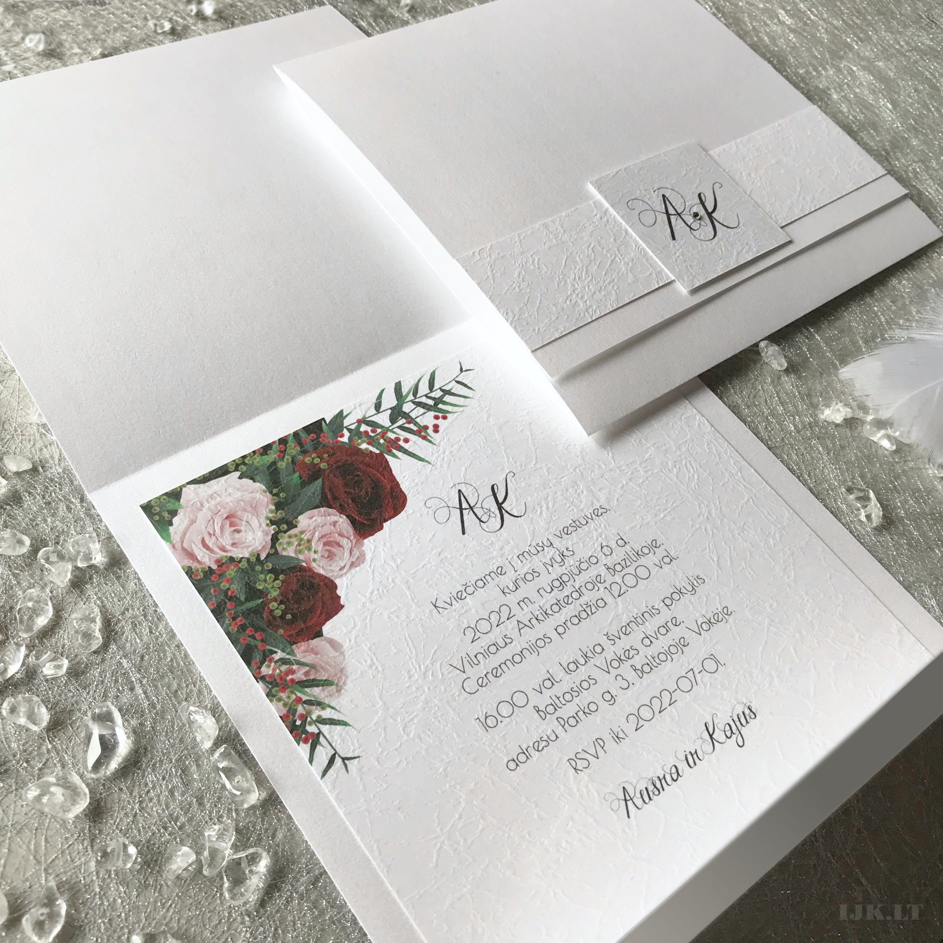 Wedding invitation, baptism, birthday, floral, red, roses