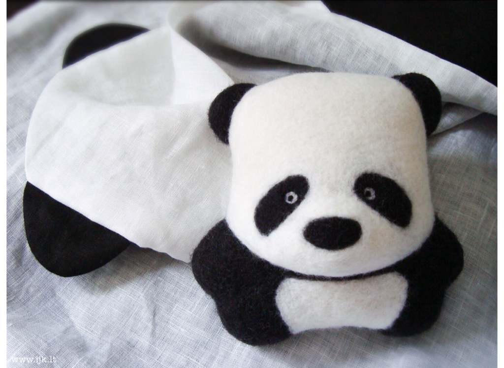 Panda bear. Interios toy. Woolen felted. Gift