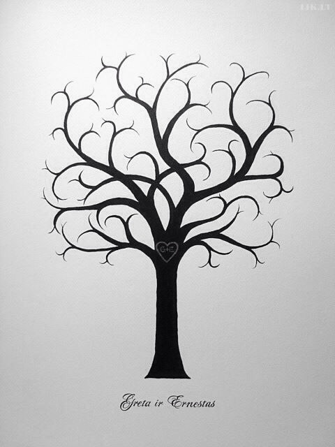 Picture for guests fingerprints and wishes, wedding tree