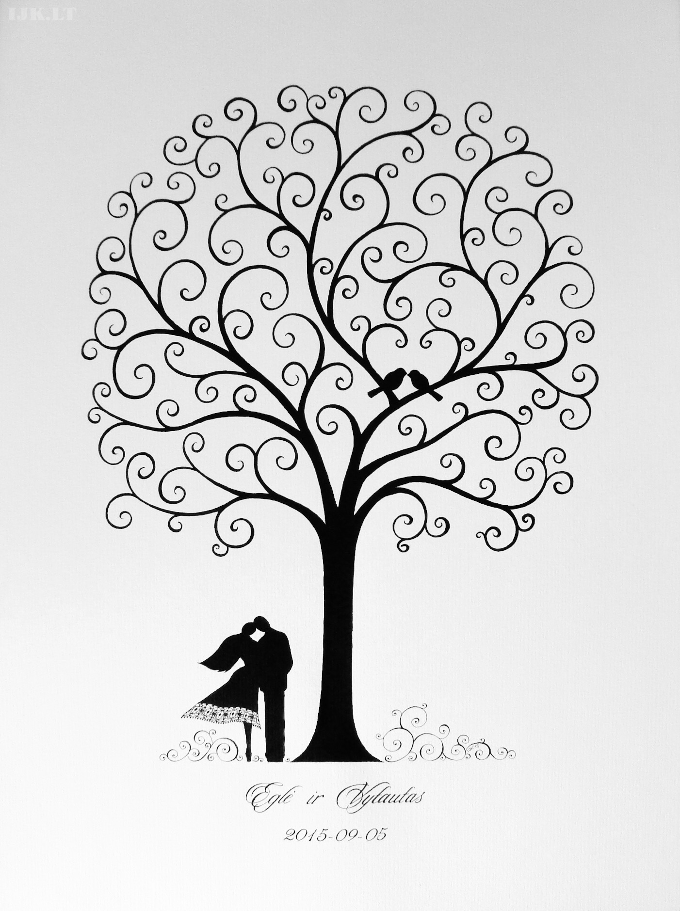 Picture for guests fingerprints and wishes, wedding tree, couple, lovers