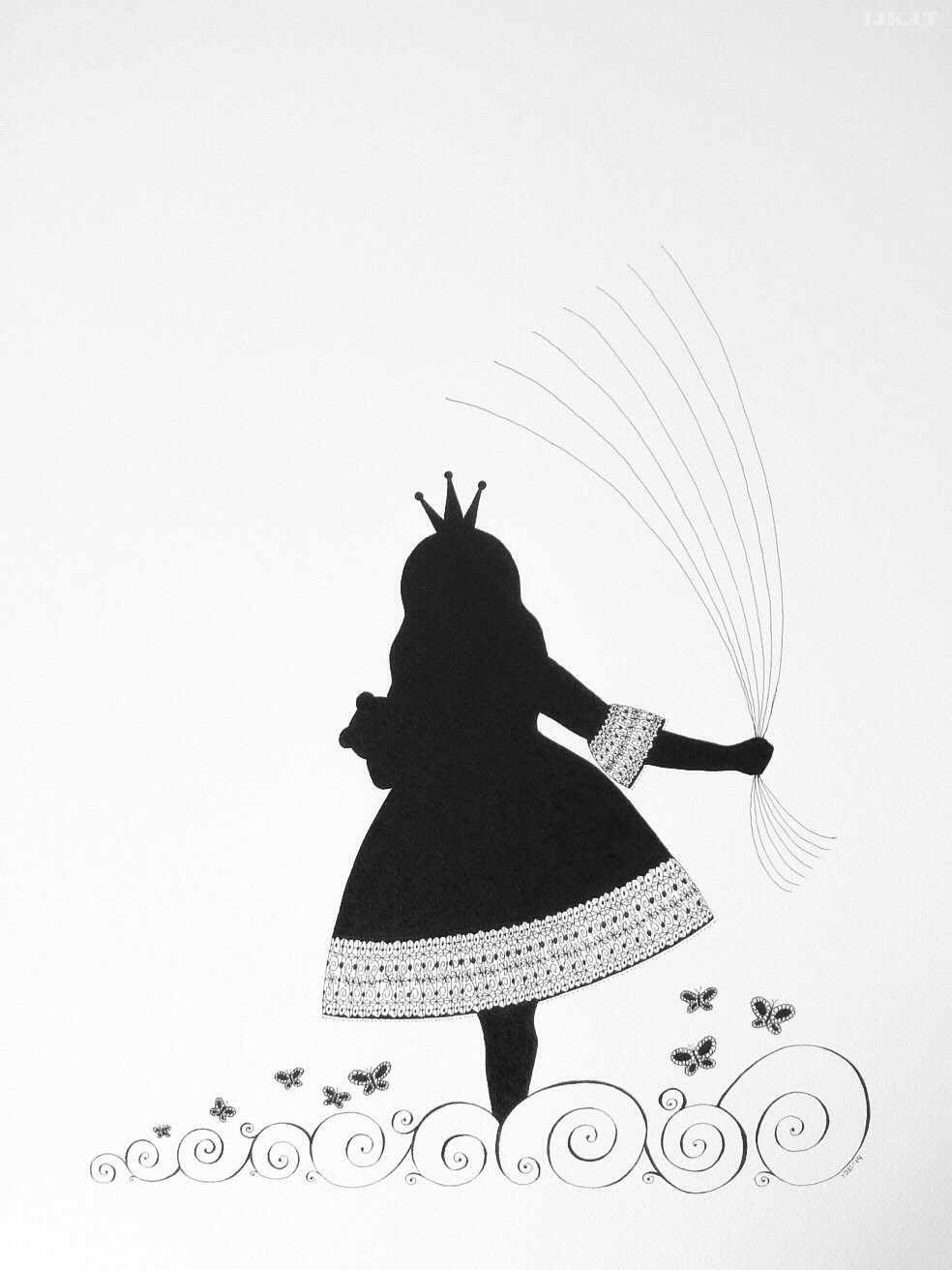 Picture for guests fingerprints and wishes, princess with baloons, baptism, little girl birthday