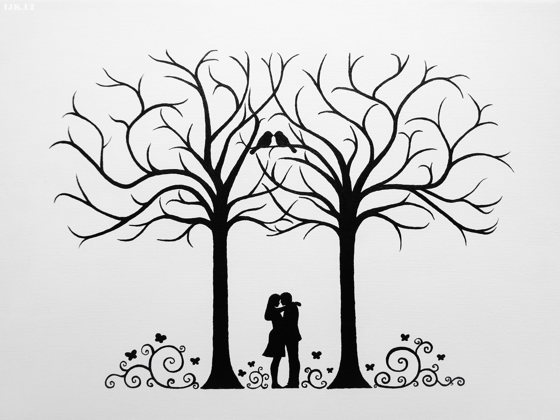 ... fingerprints and wishes, wedding trees, two trees, couple, birds