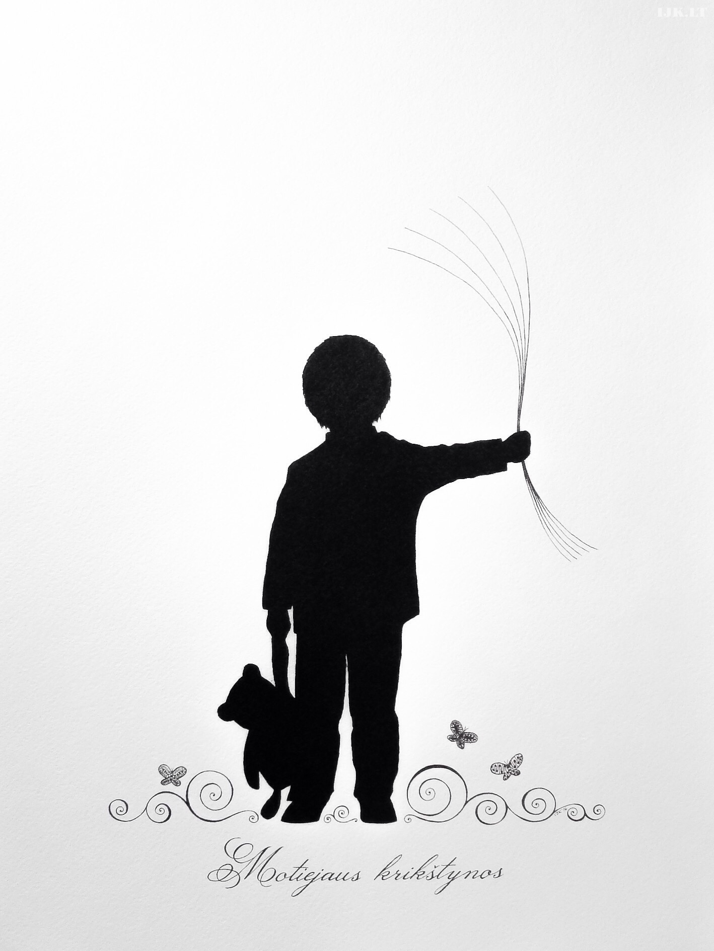 Picture for guests fingerprints and wishes, little boy with balloons, baptism, birthday