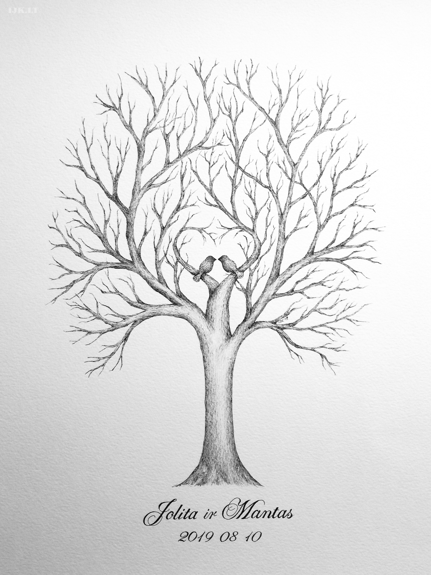 Picture for guests fingerprints and wishes, wedding tree, alternative guest book