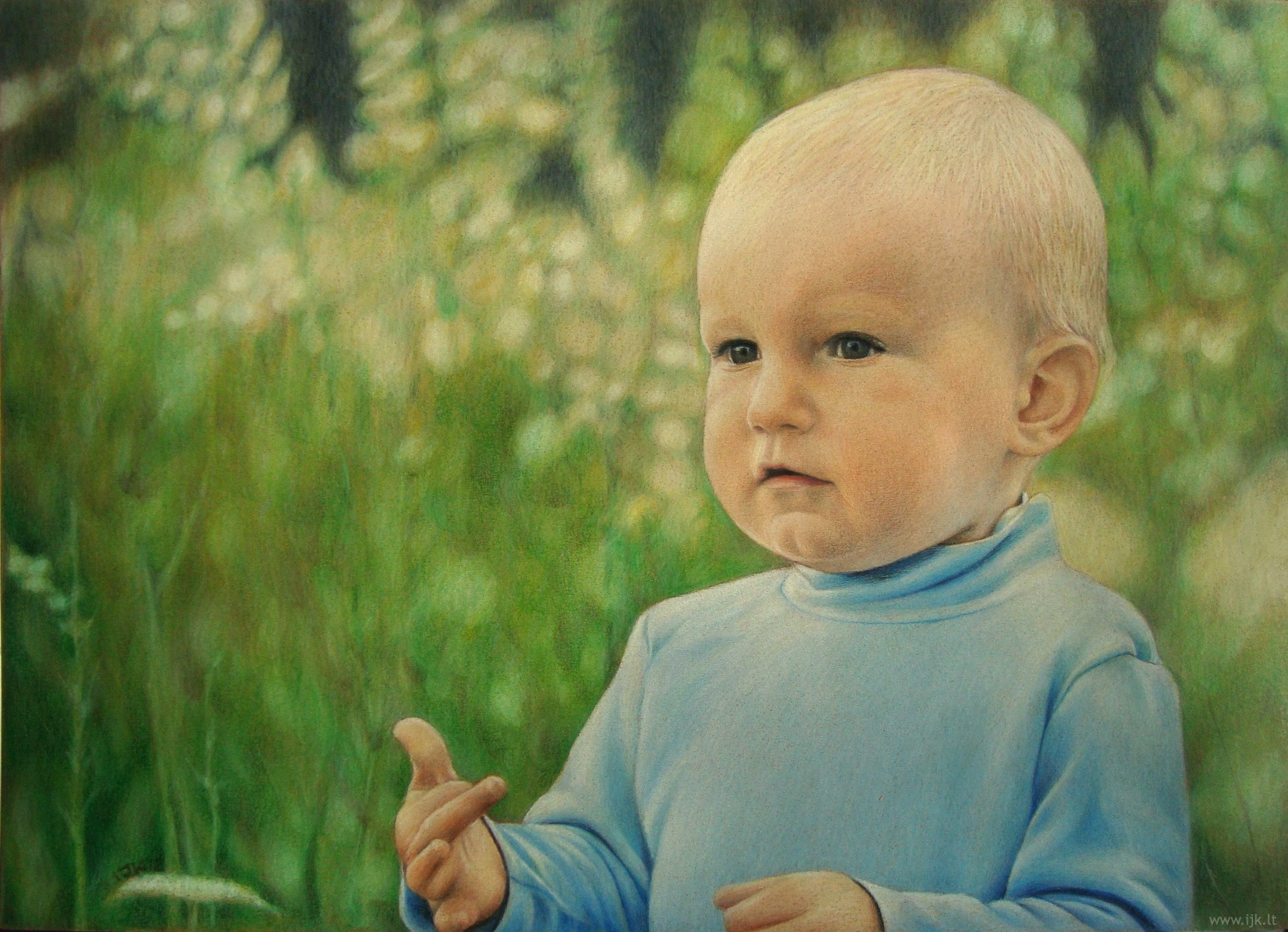 Picture, drawing, colored pencils, portrait from photo, child, little boy in the meadow, summer