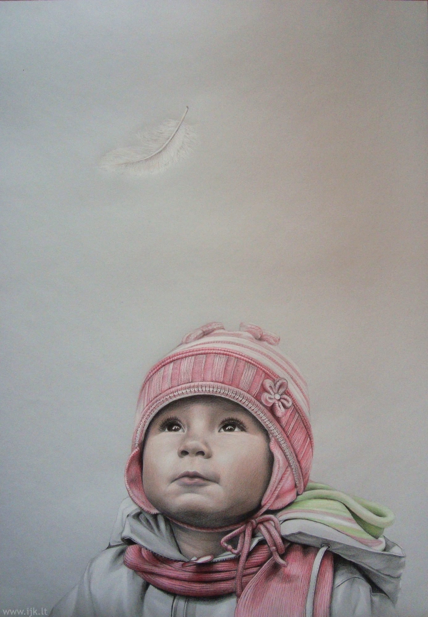 Portrait, picture INVISIBLE, drawing, colored pencils, child, sight, feather