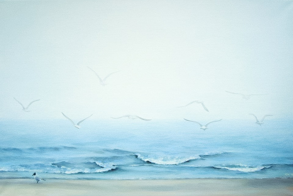 Picture painted on canva, Baltic sea, mist, fog, birds, white, blue